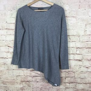 Eileen Fisher Asymmetric Hem Sweater Size S Gray